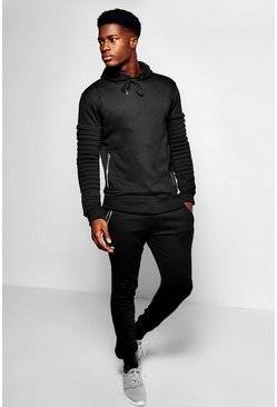 Mens Black Skinny Fit Biker Panel Tracksuit