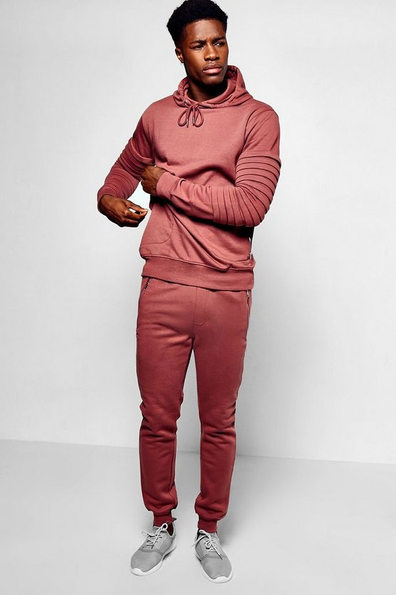 Mens Pink Skinny Fit Biker Panel Tracksuit