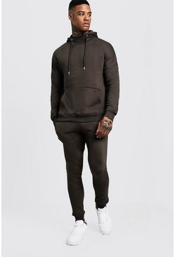 Mens Khaki Funnel Neck Hooded Tracksuit With Skinny Joggers