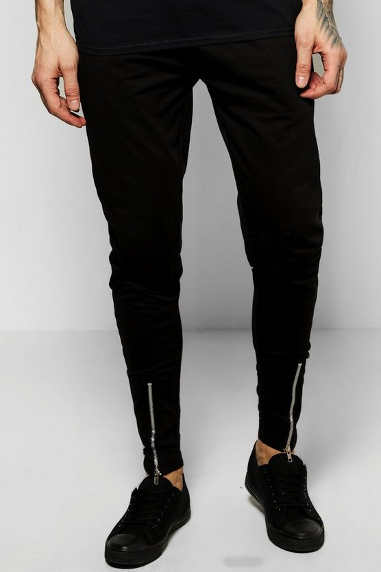 Mens Black Skinny Fit Jersey Joggers With Zip Front