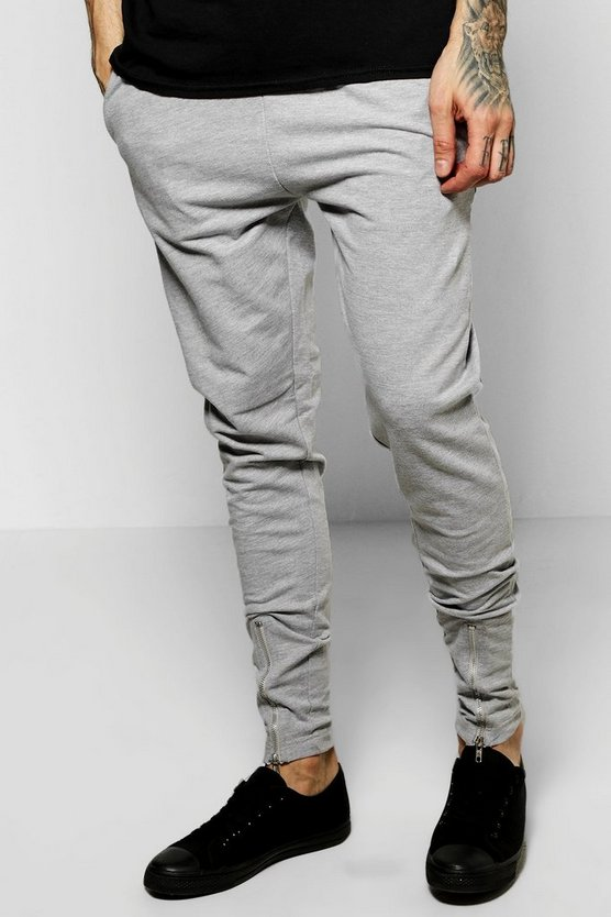 Skinny Fit Jersey Joggers With Zip Front