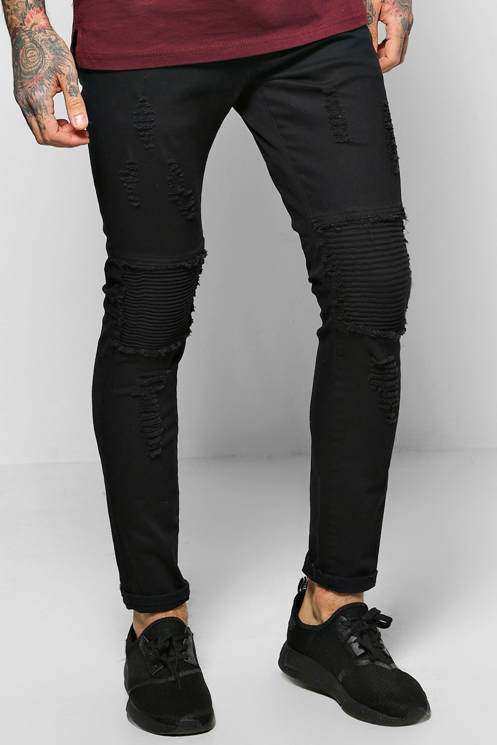 c3cb5226a9d6 Mens Washed black Skinny Fit Rip and Repair Biker Jeans