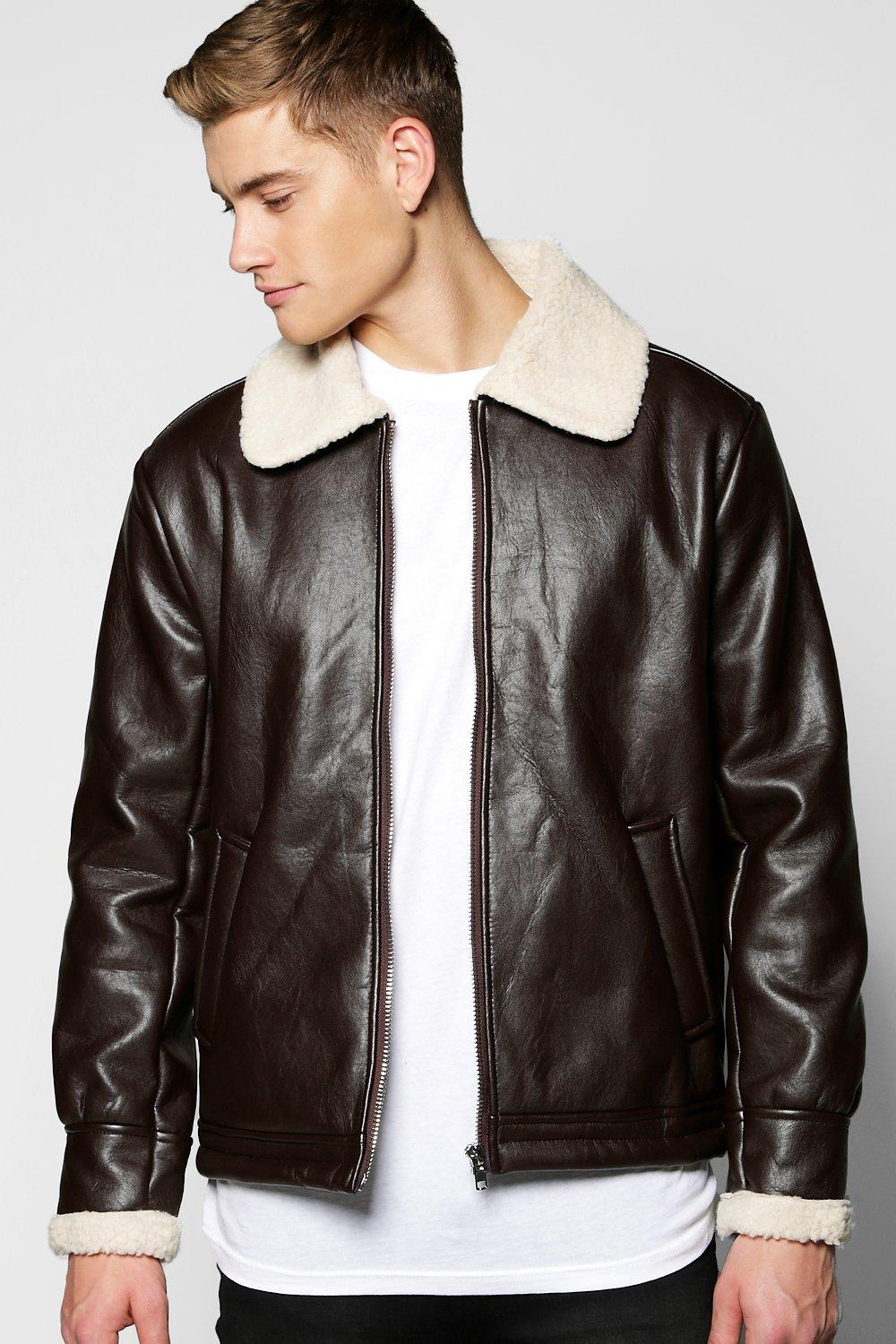 genuine shoes clients first great deals 2017 PU Aviator Jacket Fully Borg Lined | Boohoo