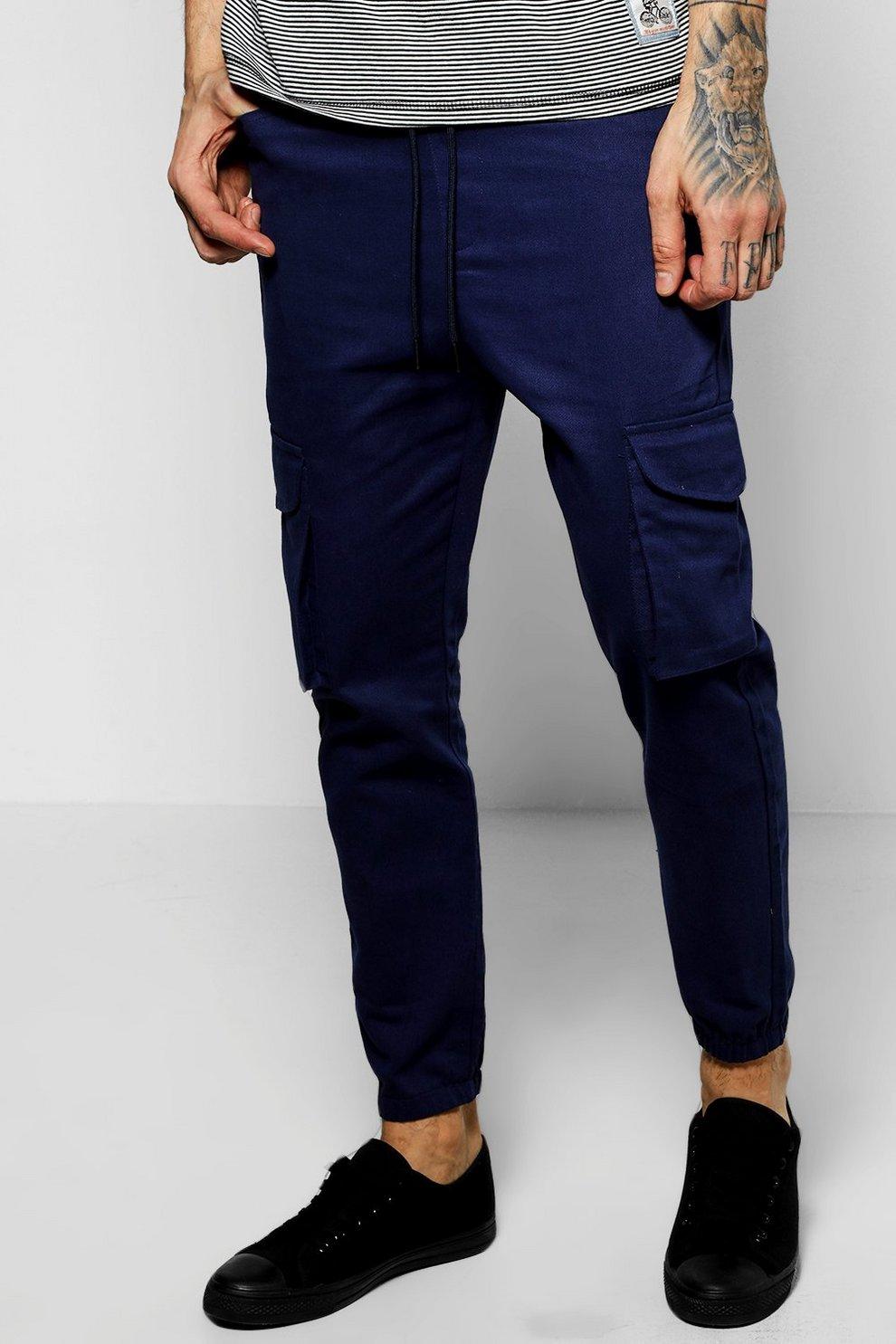 Mimetici Blu Pantaloni Sportivi Cargo Boohoo LAq34R5j
