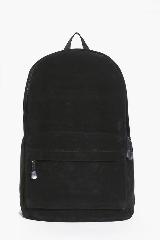 Suedette Rucksack With Front Zip Pocket