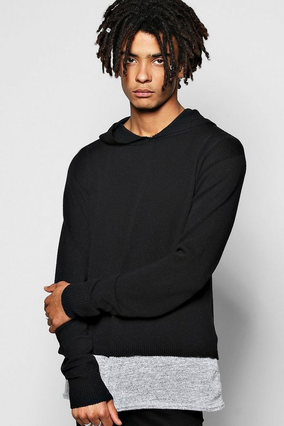 Hooded Knitted Jumper with Jersey Insert