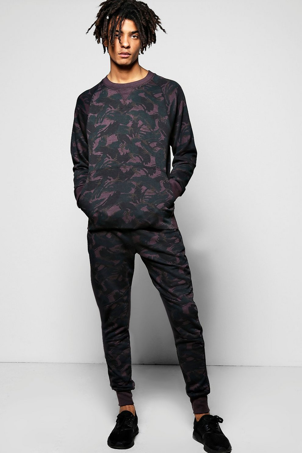 5a4fa4864445 Mens Black Skinny Fit Camo Sweat Tracksuit