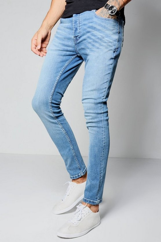 Stretch Skinny Fit Washed Jean in Mid Blue