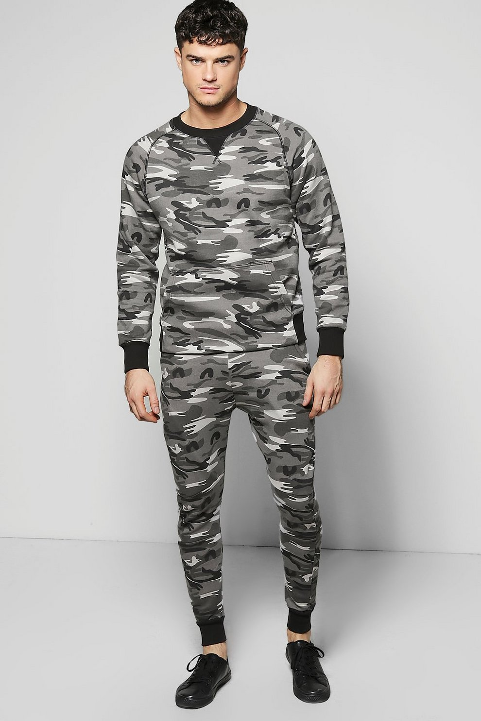 c7464fb5b3b4 Mens Grey Skinny Fit Combat Sweat Tracksuit