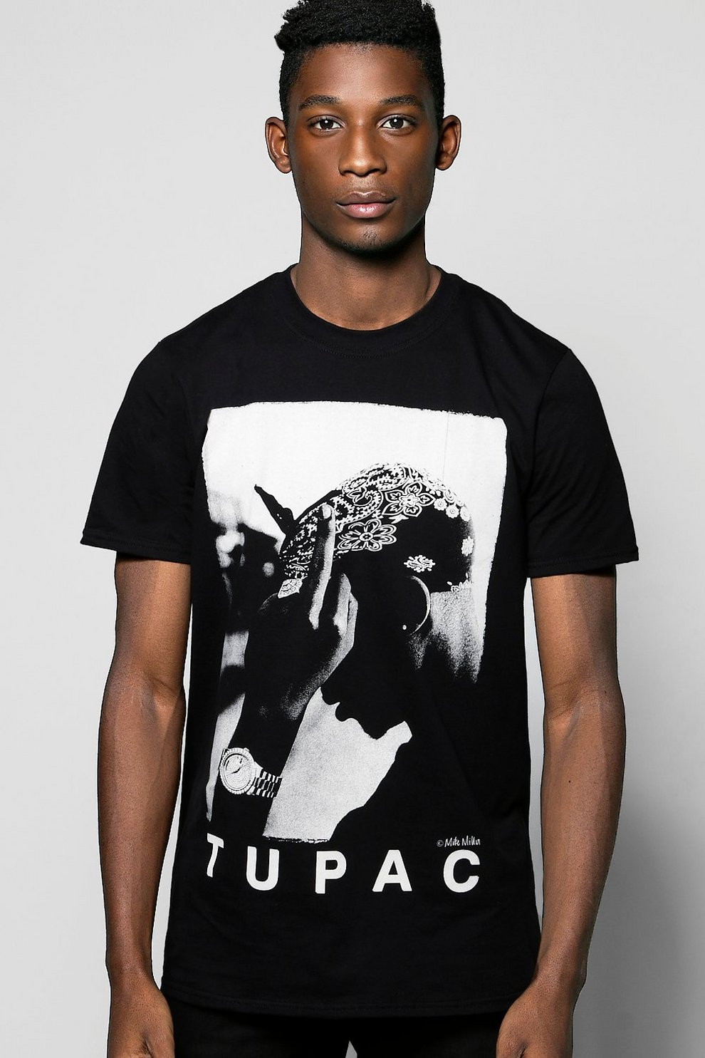 1492276f Mens Black Tupac License T-Shirt. Hover to zoom