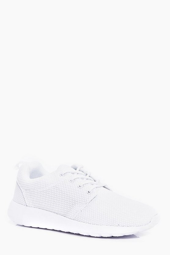 Mens White Lace Up Running Sneakers