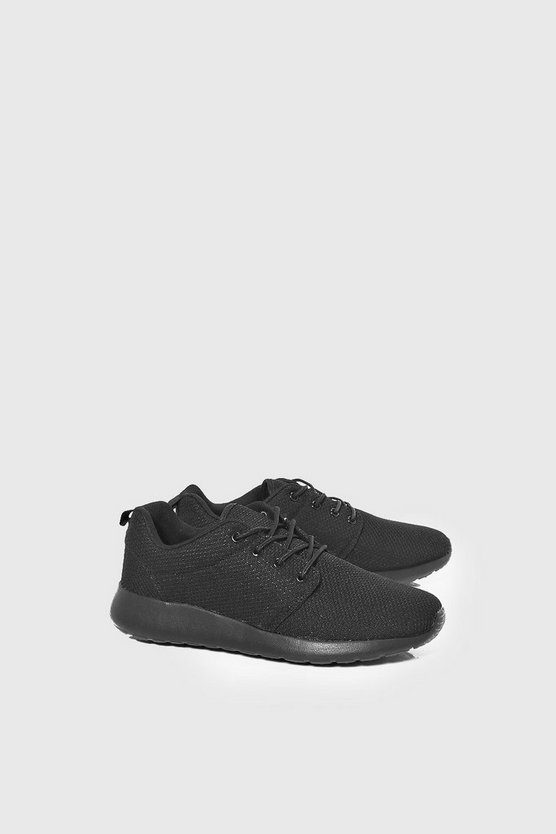 Mens Black Lace Up Running Trainers
