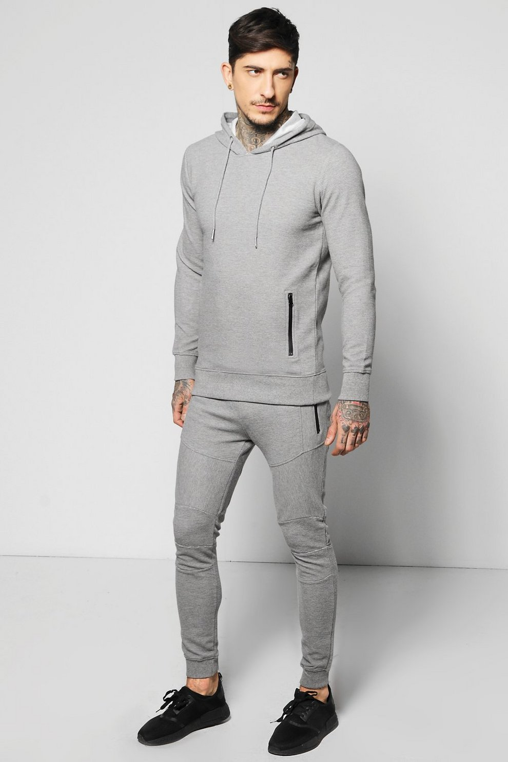 80b73a13309f Skinny Fit Ribbed Over the Head Tracksuit | Boohoo