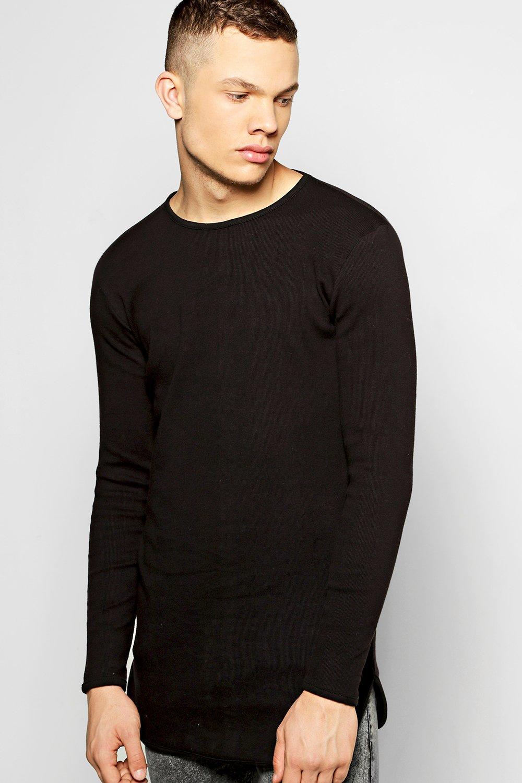 ddebbd82f Mens Black Longline Rib T-Shirt With Scoop Hem. Hover to zoom