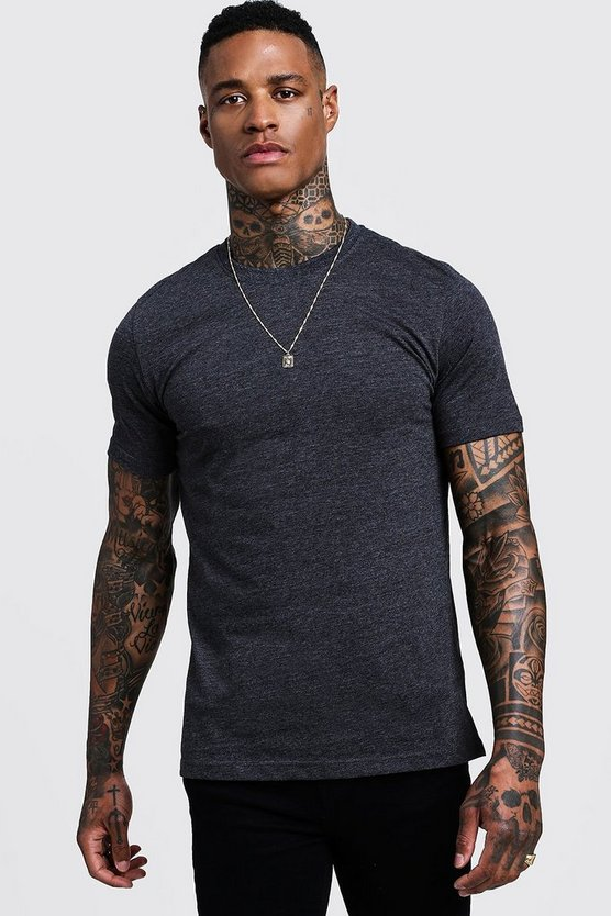 Mens Charcoal Basic Crew Neck T Shirt