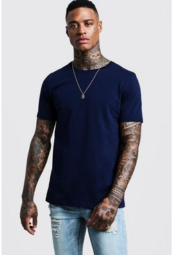 Mens Navy Basic Crew Neck T Shirt