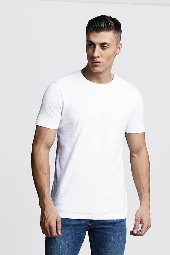 Mens White Basic Crew Neck T Shirt