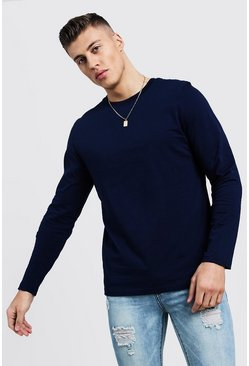 Mens Navy Basic Long Sleeve Crew Neck T Shirt