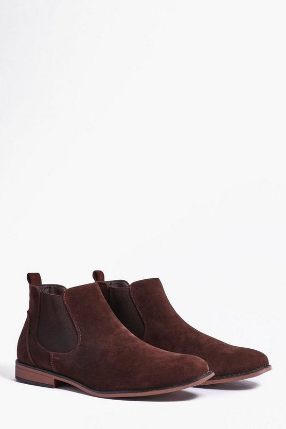 Mens Brown Faux Suede Chelsea Boots