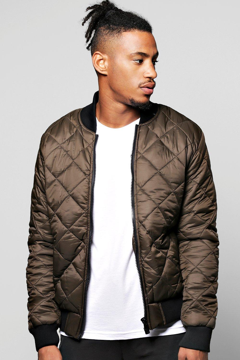 66dd89ad9e2 Quilted Padded Bomber Jacket. Hover to zoom