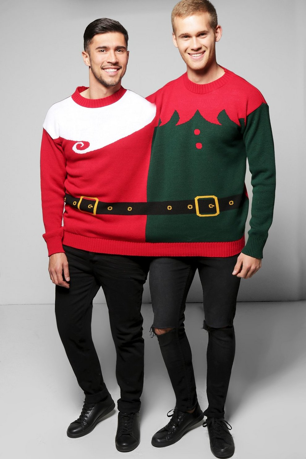 2 Person Elf Santa Christmas Jumper Boohoo