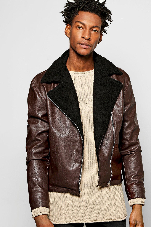 durable modeling half off Official Website PU Aviator Jacket W Borg Collar | Boohoo