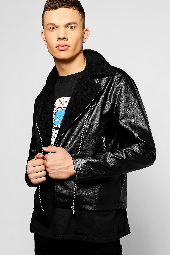 buying now best collection most fashionable PU Aviator Jacket W/ Borg Collar - boohooMAN