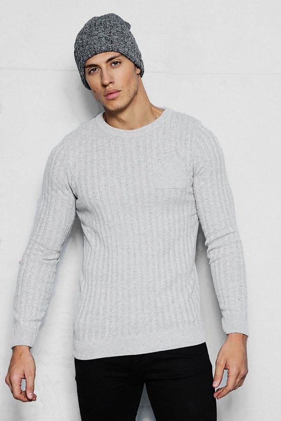 Knitted Crew Neck Jumper With Patch Pocket