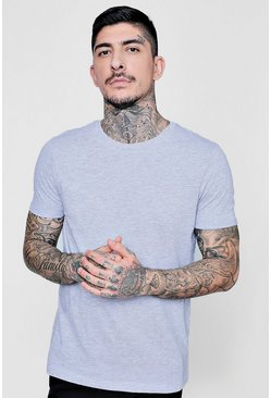 Mens Grey marl Crew Neck T-Shirt with Rolled Sleeves