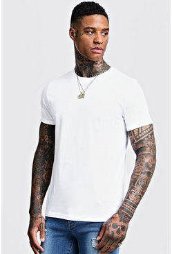 Mens White Crew Neck T-Shirt with Rolled Sleeves