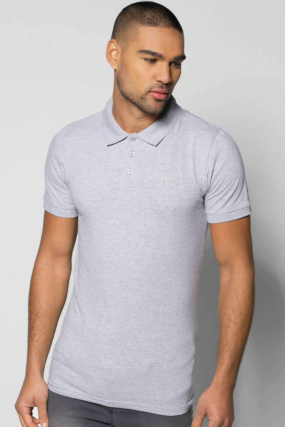 BOOHOOMAN SHORT SLEEVE MUSCLE FIT - Polo - white YbtwrG7P7