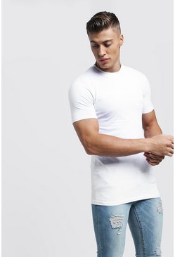 Mens White Short Sleeve MAN Muscle Fit T-Shirt