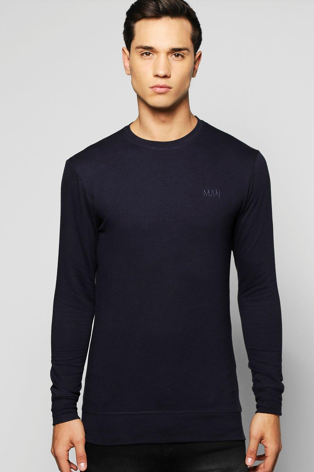 c2deba86 Mens Navy Muscle Fit Sweatshirt With Logo. Hover to zoom