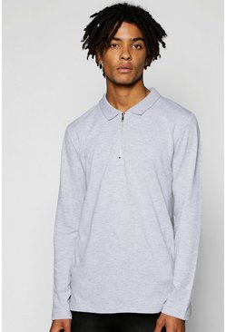 Mens Grey Long Sleeve Pique Polo With Zip Placket