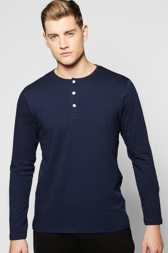 Long Sleeve Henley Lounge Top