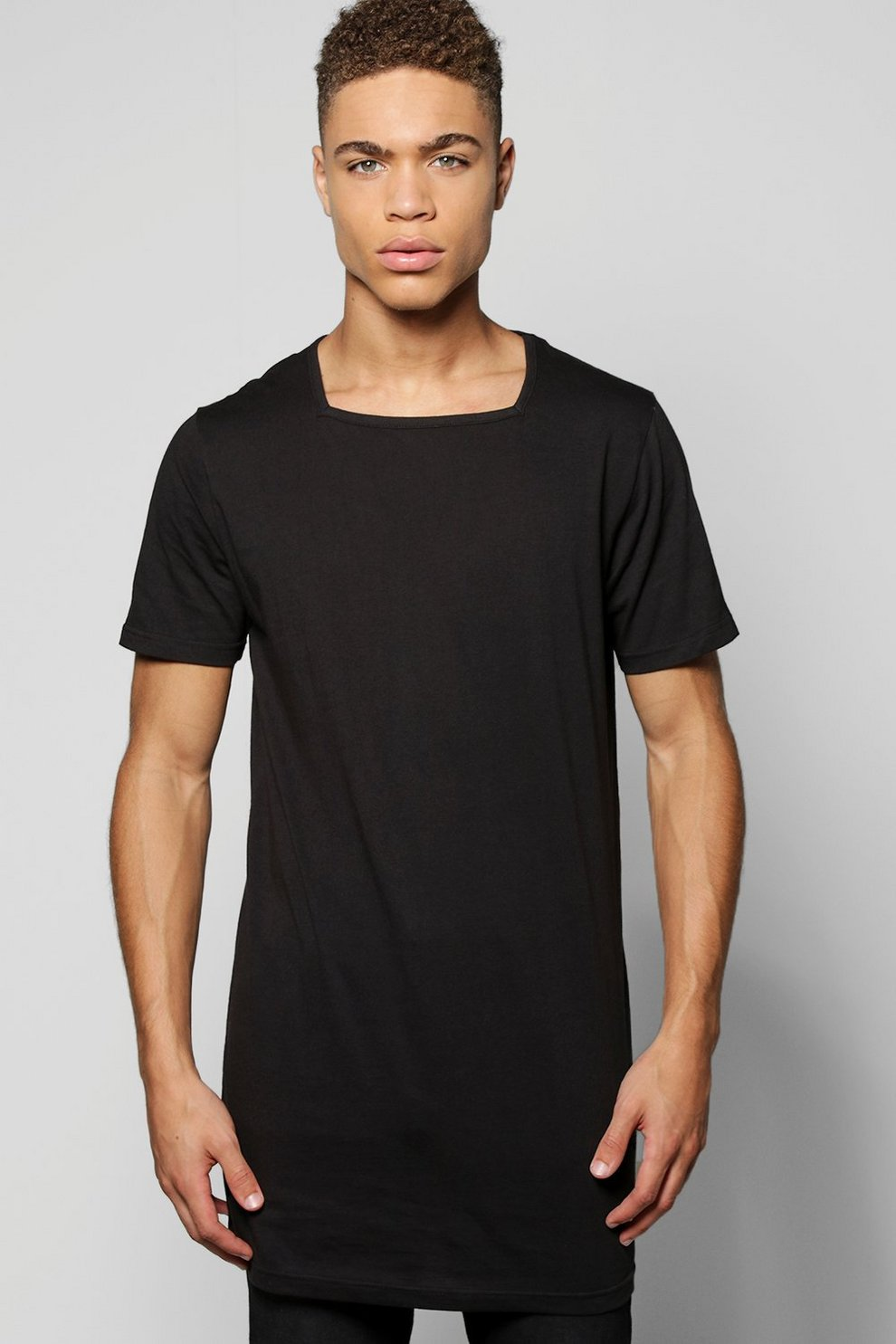 7fd82f1de Longline T-Shirt With Square Neck | Boohoo