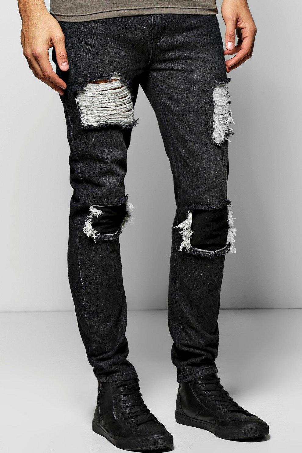 9a969e3fe8f7 Skinny Fit Rigid Rip And Repair Jeans | Boohoo