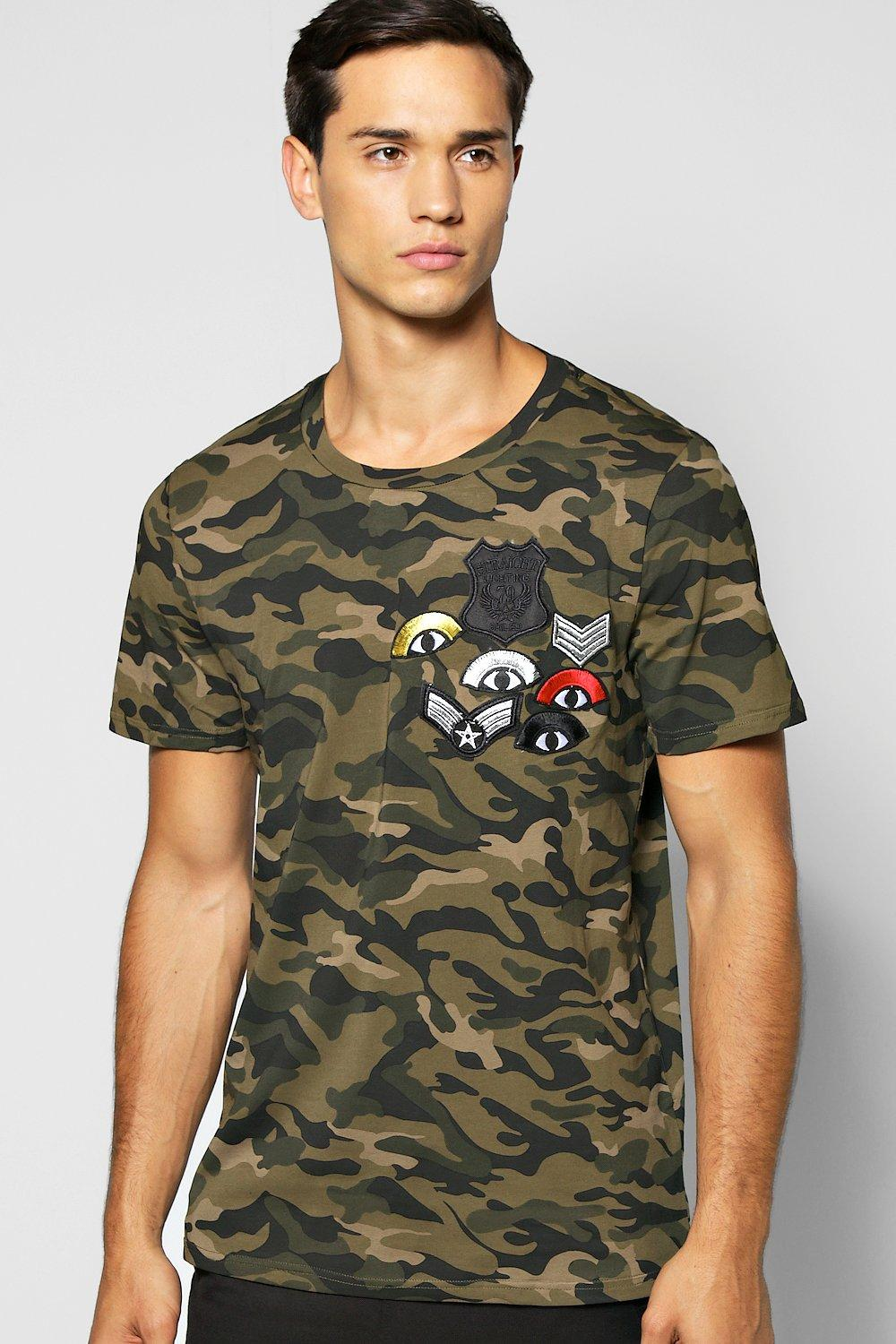 99b3146d4 Mens Khaki Muscle Fit Camo Badge T Shirt. Hover to zoom