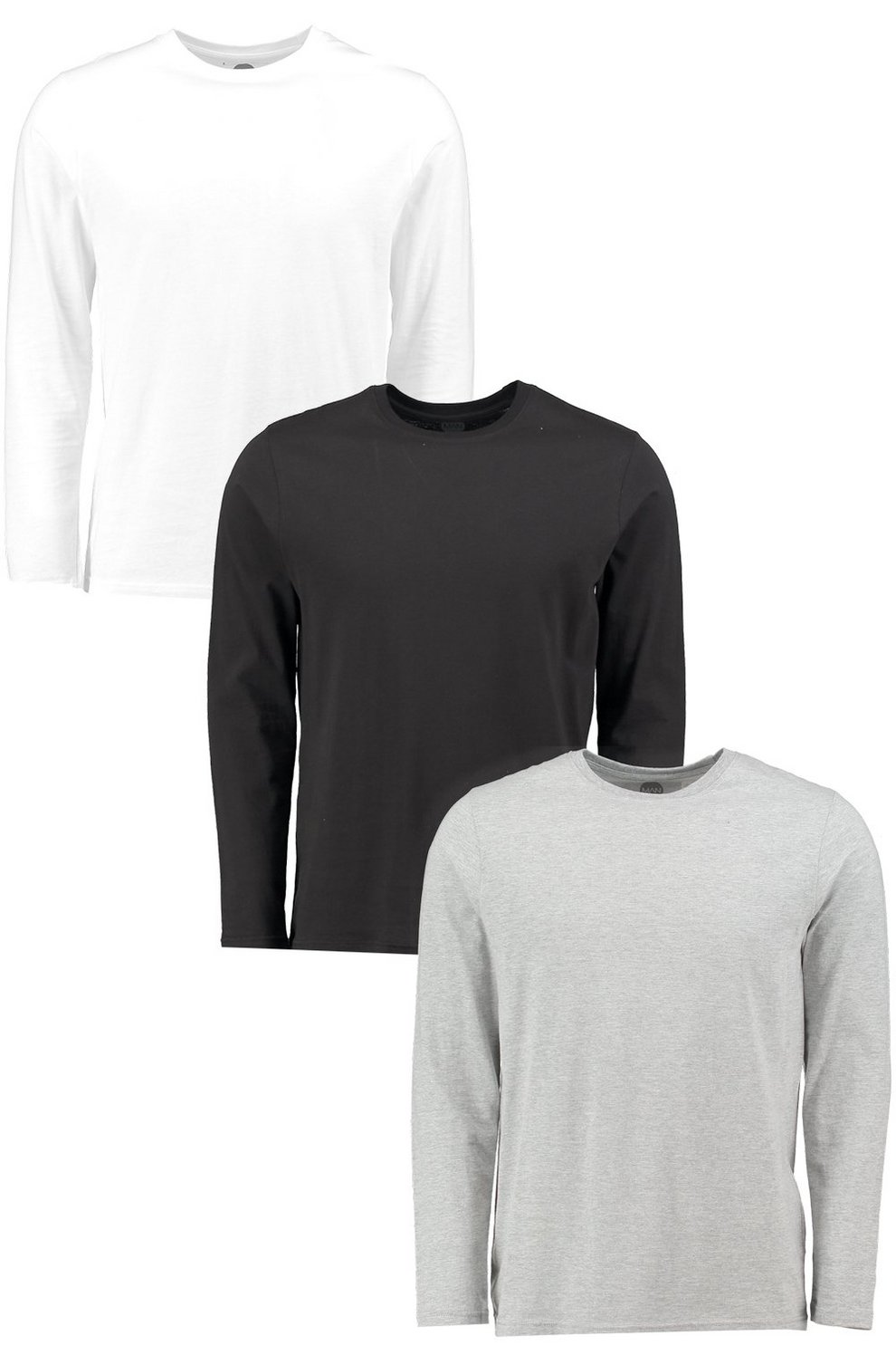 2f0daf4bc 3 Pack Crew Neck Long Sleeve T Shirts in Slim Fit | Boohoo