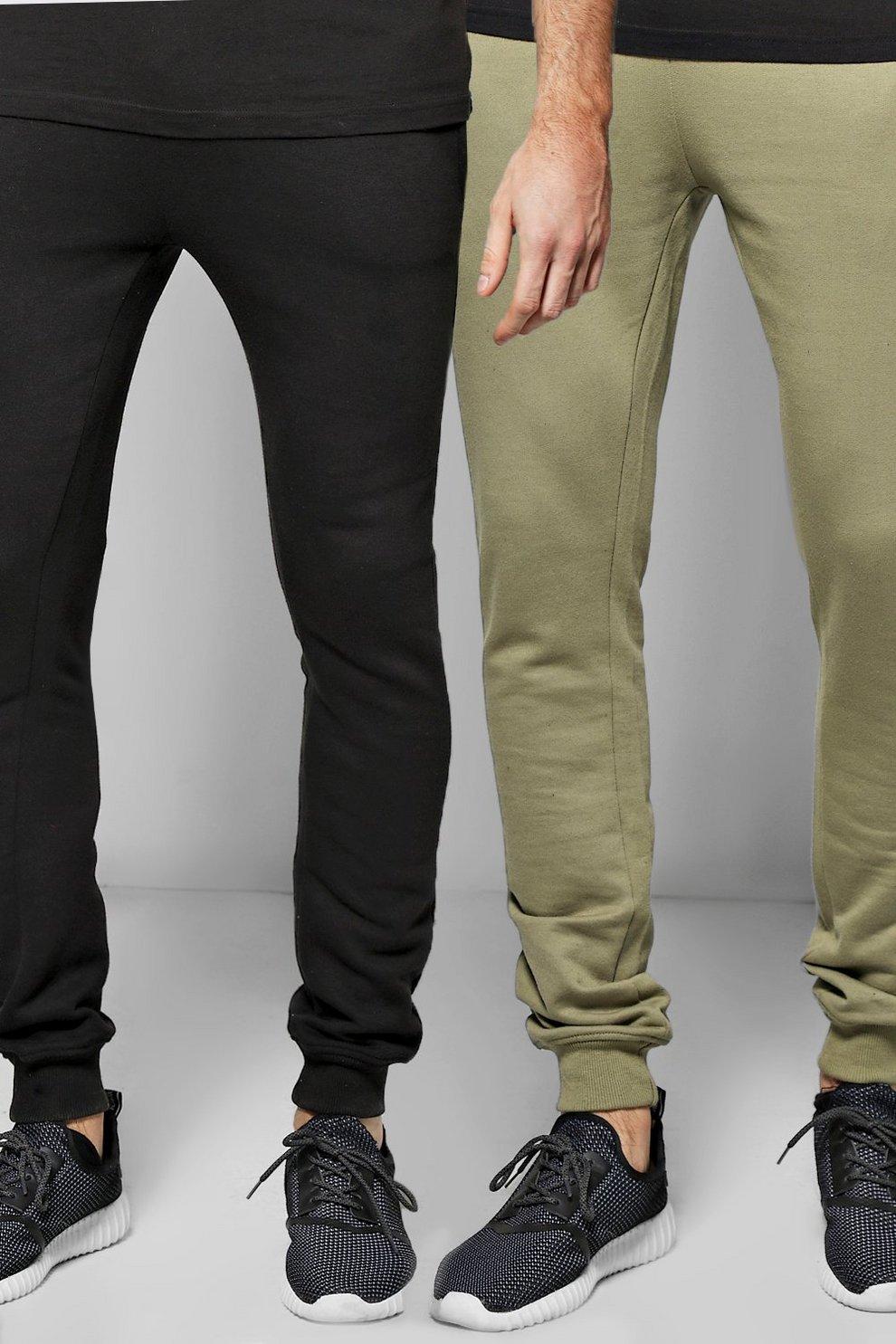 4878855039f786 Super Skinny Joggers 2 Pack In Black/Khaki | Boohoo