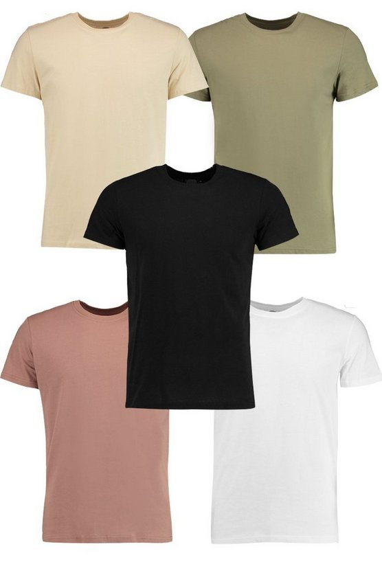5 Pack Crew Neck T Shirts in Slim Fit