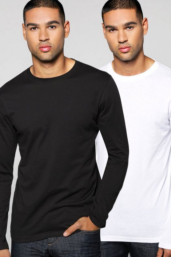 2 Pack Crew Neck Long Sleeve T Shirts in Slim Fit