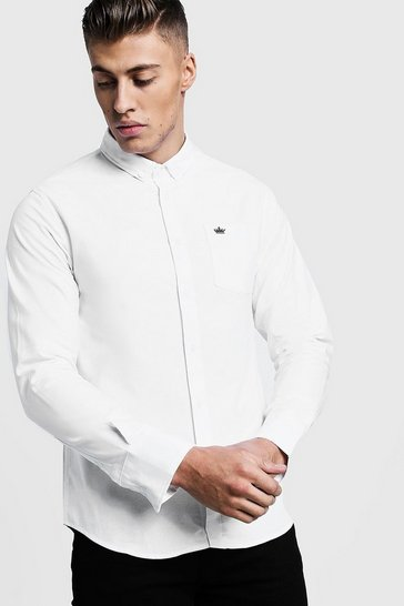 Mens White Long Sleeve Oxford Shirt