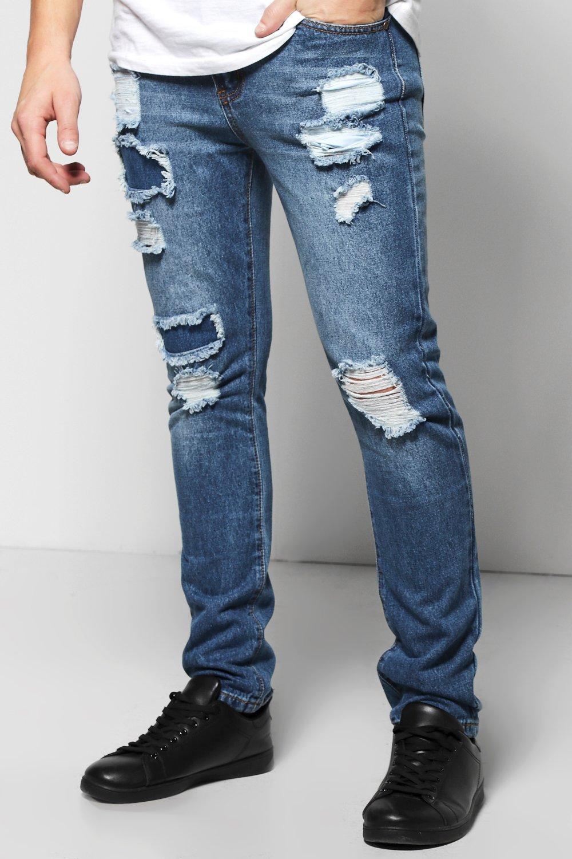 c1216d80778b Mens Indigo Skinny Fit Rigid Rip And Repair Jeans. Hover to zoom
