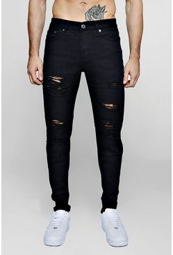 Mens Black Slim Fit Rigid Jeans With Extreme Rips