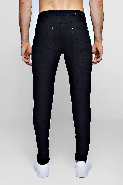 muy negro Jeans rasgados skinny rígidos qFAxpFPw