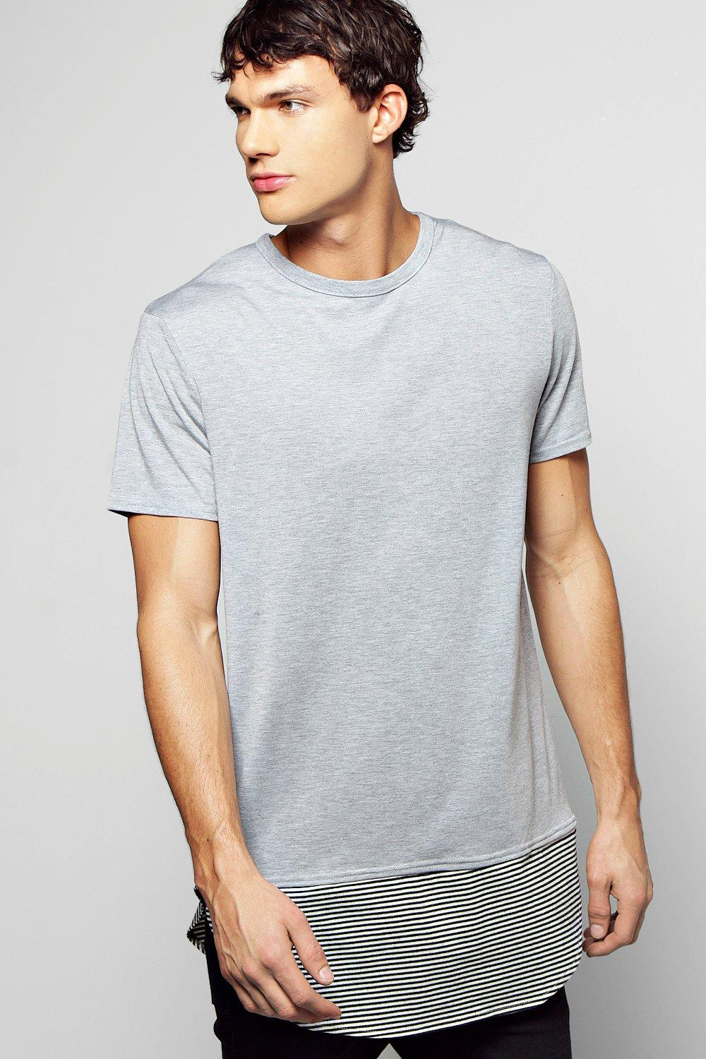 c2582601e2a2 Mens Grey Longline T Shirt With Stripped Fishtail Hem. Hover to zoom