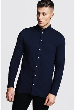 Mens Navy Long Sleeve Jersey Shirt