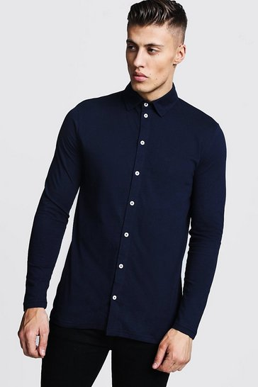 Navy Long Sleeve Jersey Shirt