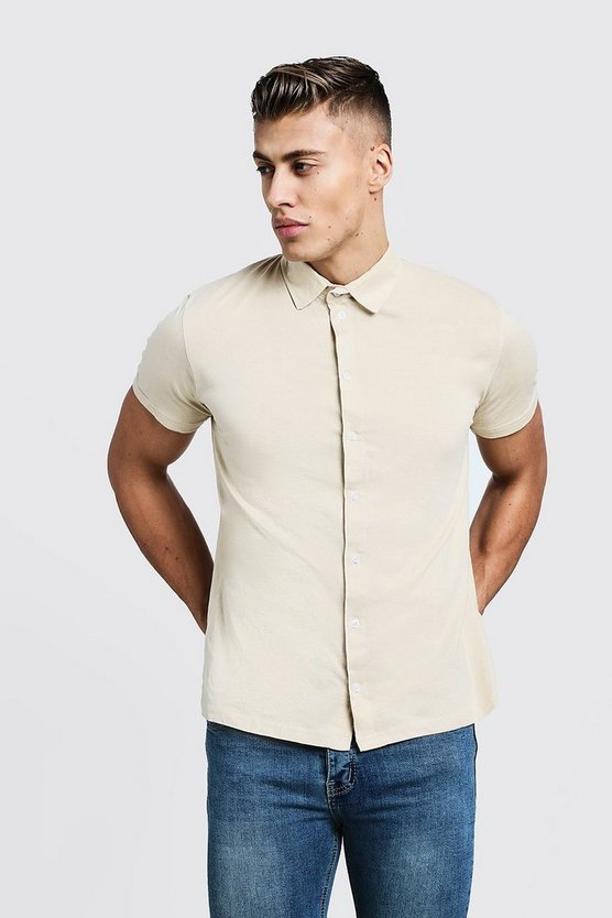 Mens Stone Short Sleeve Button Through Jersey Shirt